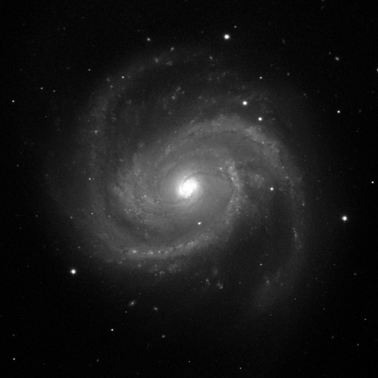 A black-and-white images of M100. In the center of the image is a spiral galaxy with two loosely wound spiral arms.