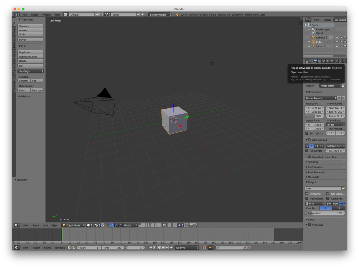 A screenshot of the default scene for Blender. This consists of a cube in the center of the screen, a light to the upper right of it, and a camera pointing at the front-left corner of the cube. Various UI buttons surround this scene.