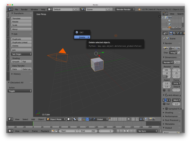 A screenshot of the Blender UI showing all the default objects selected and a confirmation dialog box for deleting them.