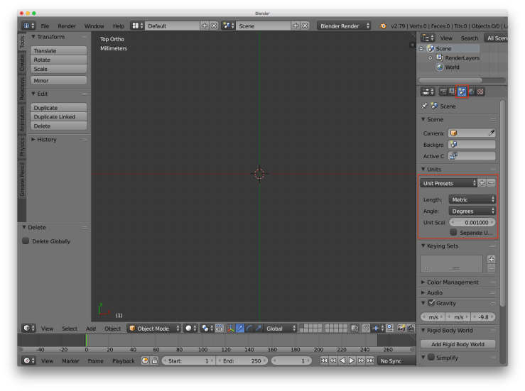 A screenshot of the Blender user interface. There are red rectangles around the options needed to set up real world units in the UI.