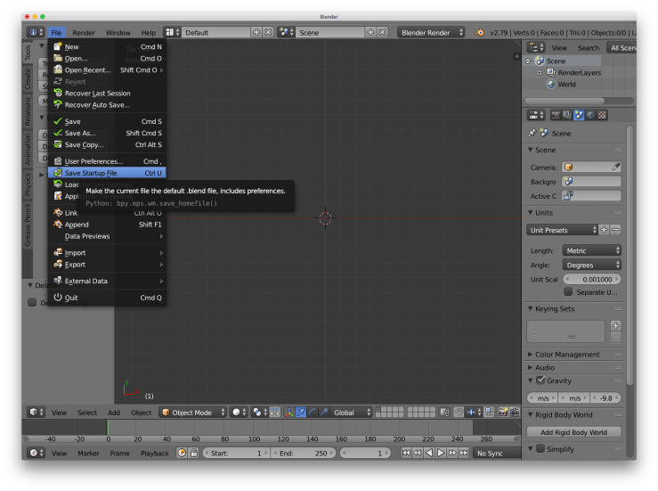 The Blender UI with the `File` menu open and `Save Startup File` selected.