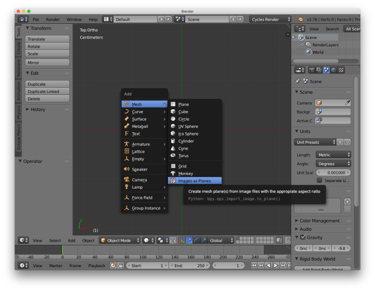 A screenshot of the blender user interface. This shows the process of adding an image as a plane.