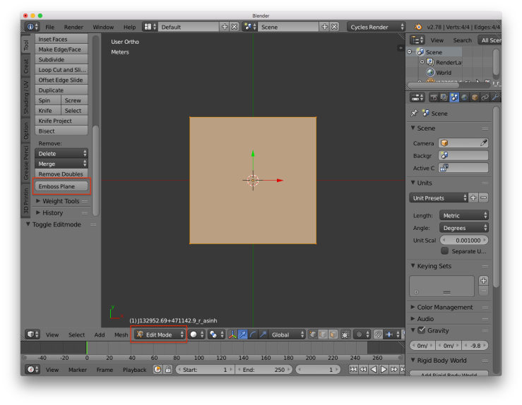 A screenshot of the blender user interface. There are red rectangles around the buttons for entering edit mode and applying the emboss plane plugin.