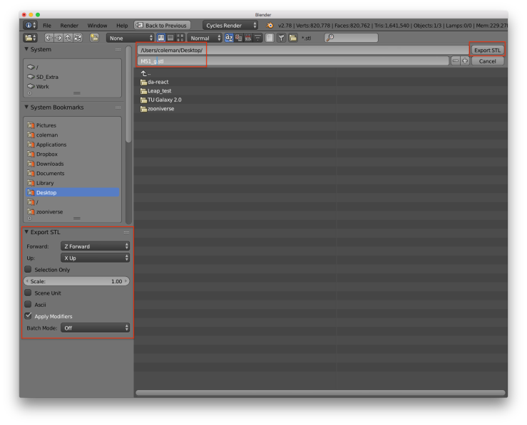 A screenshot of the blender user interface. There are red rectangles around the buttons for controlling the export parameters, setting the name of the file, and exporting the model.