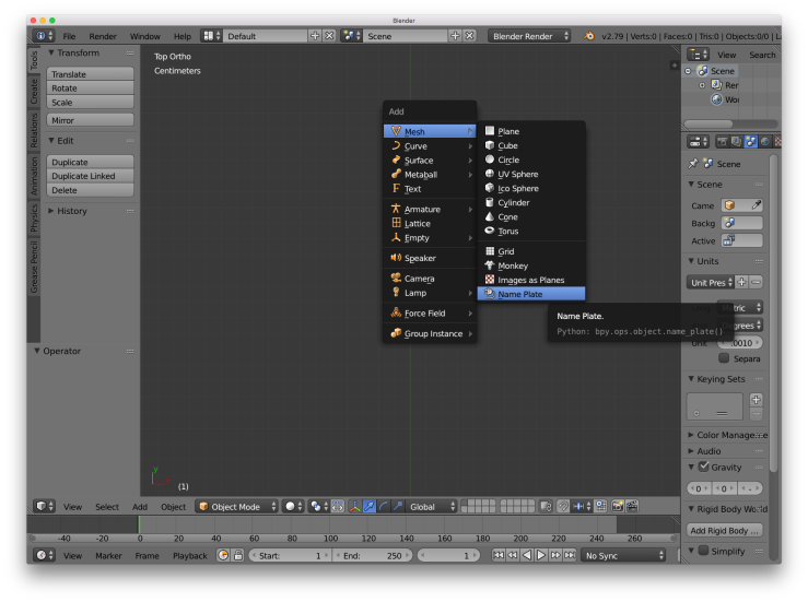 A screenshot of the blender user interface. This shows the process of adding a name plate object.
