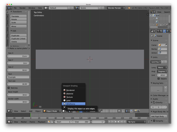 A screen shot of the blender interface showing how to change the viewport to wireframe mode.
