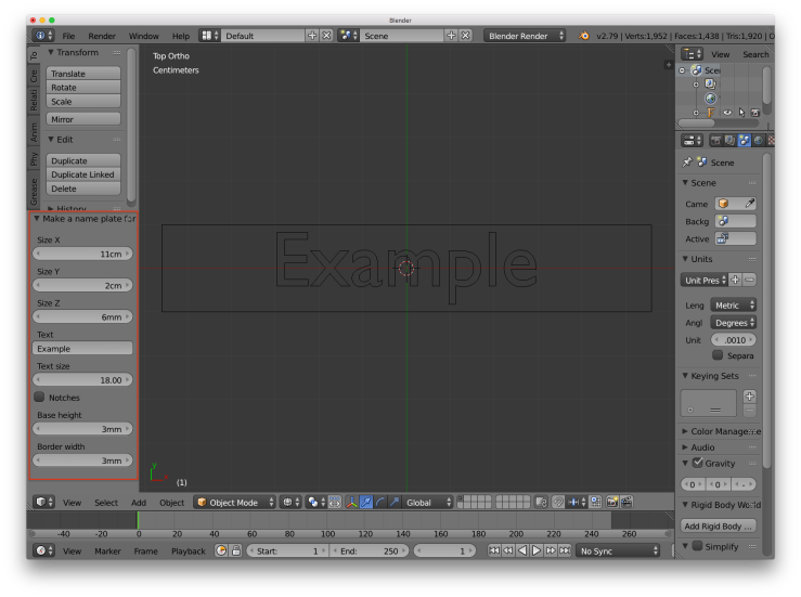 A screen shot of Blender with a red rectangle around the parameters that can be adjusted for the name plate object.