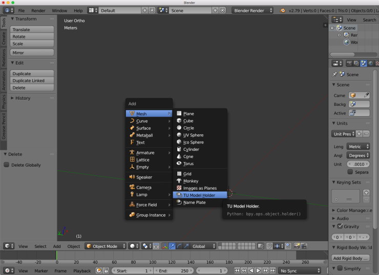 The Blender user interface showing where the