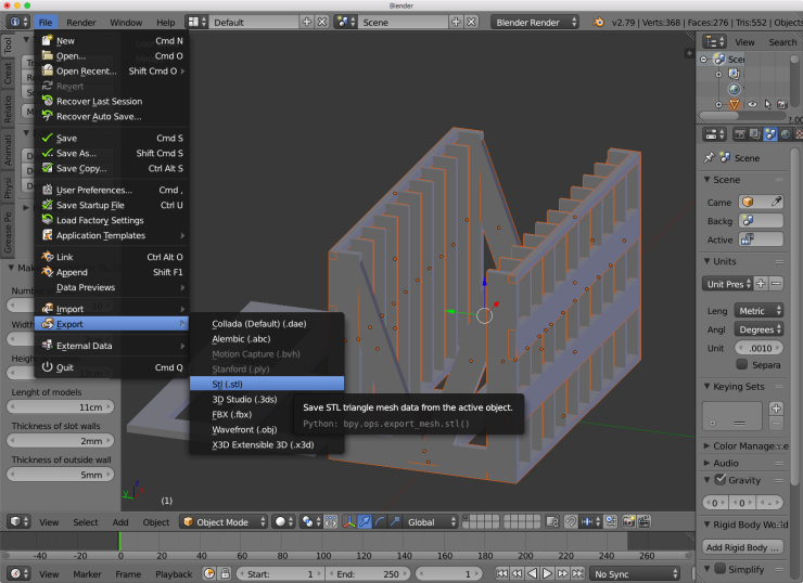 The Blender user interface showing the menu option for exporting the model as an STL file.
