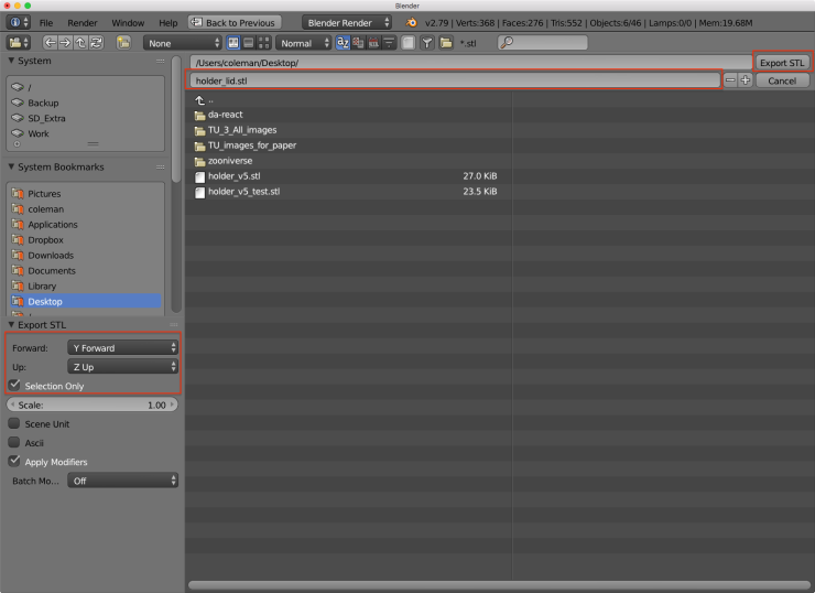 The Blender user interface with red rectangles around the parameters that can be adjust for the STL export and the export button.