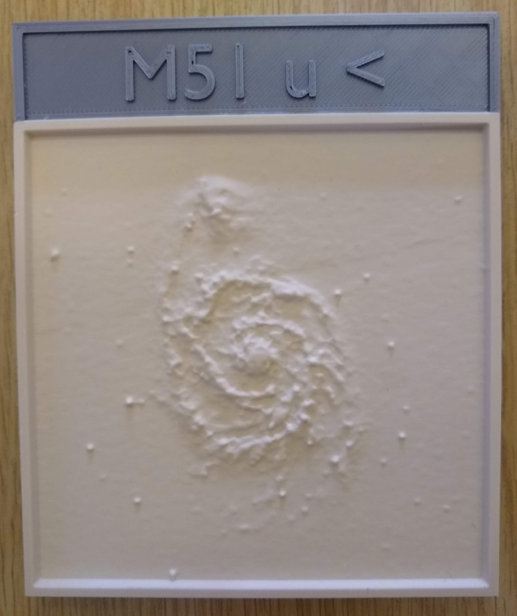 M51 u-band galaxy master with the 3D printed name plate attached.
