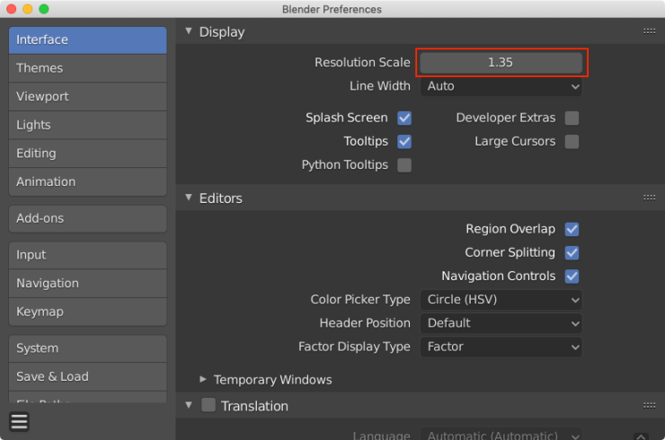 Blender preferences window with the Interface tab selected. A red box is drawn around the Resolution Scale option.