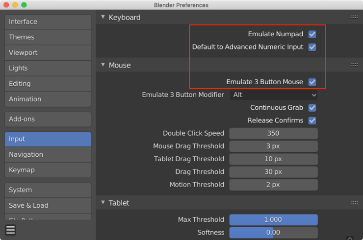 Blender preferences window with the Input tab selected. A red box is been drawn around the Emulate Numberpad, Default to Advanced Numeric Input, and Emulate 3 Button Mouse options.