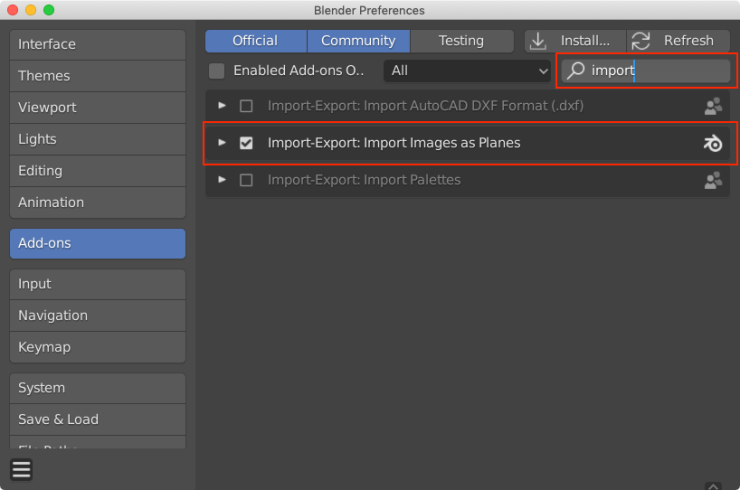 Blender preferences window with the Add-ons tab selected. Red boxes are drawn around the search box and the Import-Export: Import Images as Planes add-on.