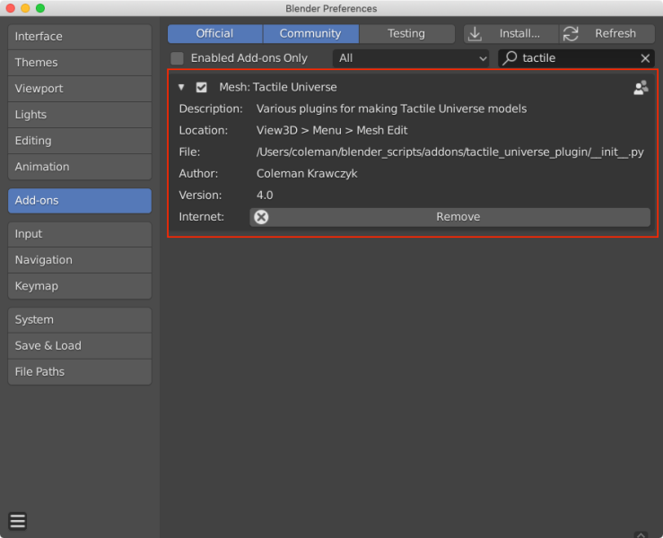 Blender preferences window with the Add-ons tab selected. A red box is drawn around the Mesh: Tactile Universe add-on.